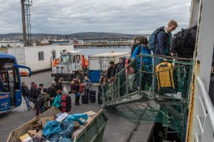 Boarding at the Mardones berth, Punta Arenas. Photo: Thomas Ronge