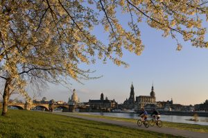 The Elberadweg leads runners, cyclists and pedestrians through Dresden. Foto: Frank Exß DML BY