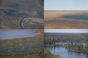 Eindrücke aus dem nordamerikanischen Permafrostregionen. Fotos: K. Kohnert und T. Sachs (li. u.)