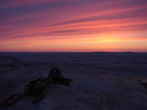 Kalibrieren im Sonnenuntergang (Foto: D. Franz)