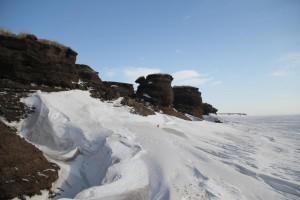 Die Küste von Samoylov und die Lena - noch ist sie gefroren. Foto: K. Kohnert
