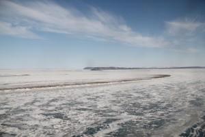 Die gefrorene Lena und die Insel Stolp. Foto: K. Kohnert