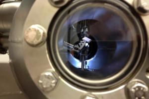 Die Probe im Strahlrohr (weißes Viereck). Bild: GSI