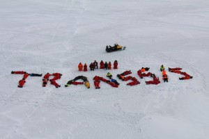 """On the 7th ice station we tried to form TRANSSIZ. The """"z"""" was kind of confused. Photo: Ilias Nasis"""