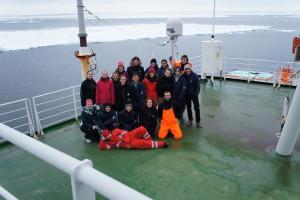 ArcTrain students on board RV Polarstern, floating in the ice. Photo: Annegret Krandick