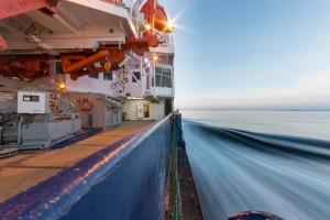 View forwards along the starboard side of R/V Polarstern. Photo: Stefan Hendricks