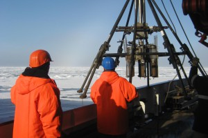 The multicorer with sediment cores hoisted back aboard Polarstern.Photo: Franz Schroeter, AWI