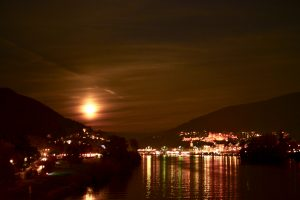 Postcards from Heidelberg: a glimpse of the old town and the supermoon